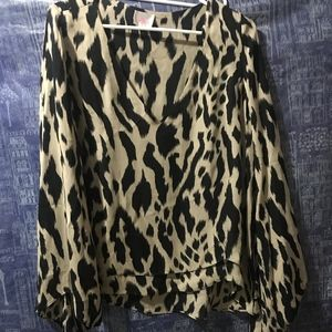 Parker size small animal print V-neck blouse